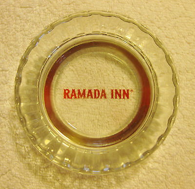 Vintage Ramada Inn 4 inch Fluted Edge Heavy Clear Glass Ashtray Free Shipping