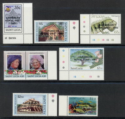St. Lucia 796 to 802 mnh complete set w/Caribbean Royal Visit - 1985 overprint