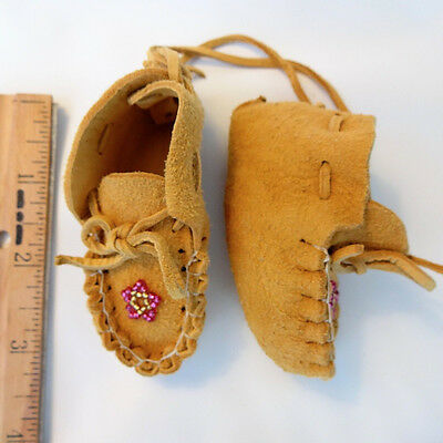 Small Pair of Moccasins, Pink,  Southwestern, Apache, Hand Made