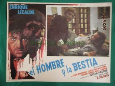 THE MAN AND THE BEAST Horror WOLFMAN MONSTER SPANISH MEXICAN LOBBY CARD 1