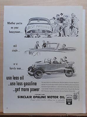 1948 magazine ad for Sinclair Oil - Honeymoon, Single or Family Man - Less Oil