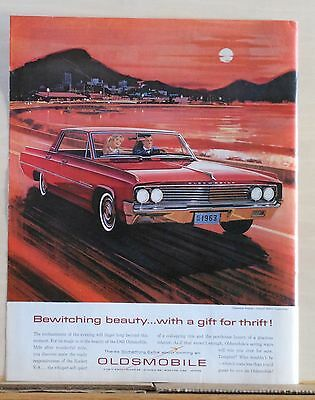 1963  magazine ad for Oldsmobile - Bewitching Beauty, Dynamic 88 at sunset