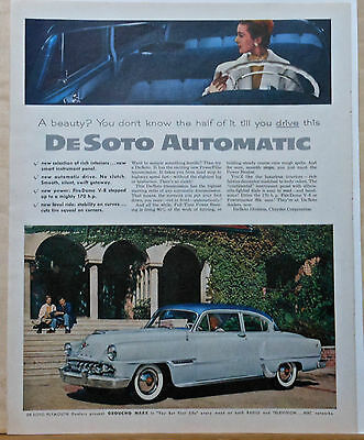 1954 magazine ad for DeSoto - Firedome photos, Automatic PowerFlite transmission