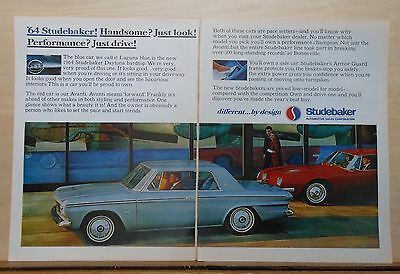1963 two page magazine ad for Studebaker - '64 blue Daytona & red Avanti