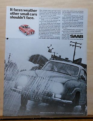 1968  magazine ad for Saab - Faces weather other small cars shouldn't face
