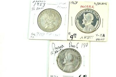 Panama ½ Balboa Coins 1953 1967 1973 Some PROOF