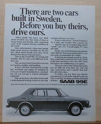 1972  magazine ad for Saab 99E - Buy this Swedish car not the other one