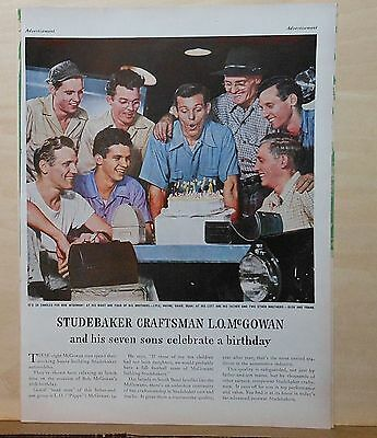 1947 magazine ad for Studebaker - Craftsman L.O. McGowan, 7 sons at birthday
