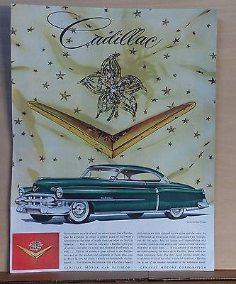 1950's magazine ad for Cadillac - green Cadillac, soundest auto investment