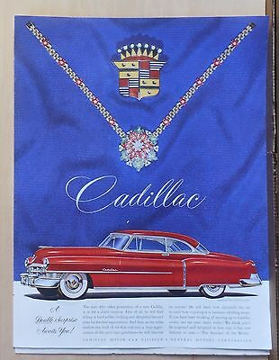 1950 magazine ad for Cadillac - red Cadillac, Double Surprise Awaits you