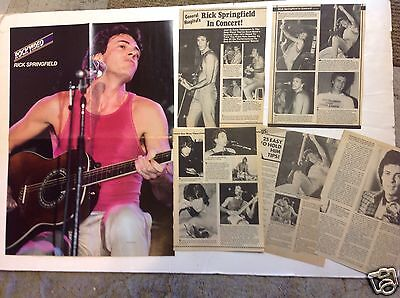 Lot of vintage 1980's RICK SPRINGFIELD pinup SHIRTLESS clippings & 4 page poster