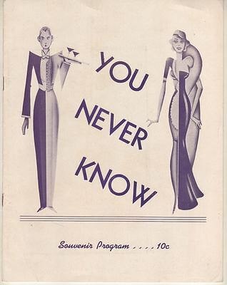 "Cole Porter ""You Never Know"" TRYOUT?  Souvenir Program 1938  FLOP  Lupe Velez"