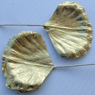 Vintage Gold Foil Metallic Paper Leaves Wreath Craft Corsage Pick Xmas Supplies