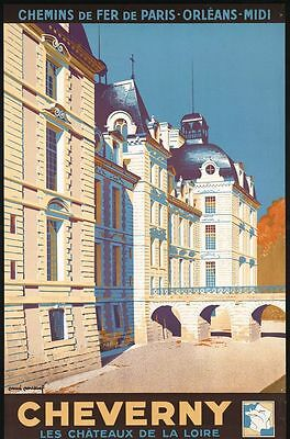 "Vintage Illustrated Travel Poster CANVAS PRINT France by train Cheverny 16""X12"""