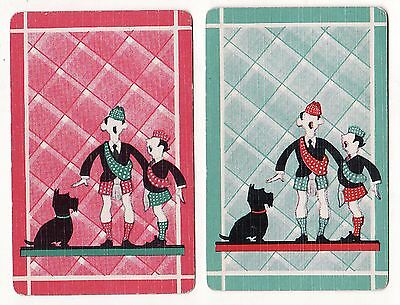 DECO SCOTSMEN SCOTTIE DOGS Pair of Vintage Swap/Playing Cards