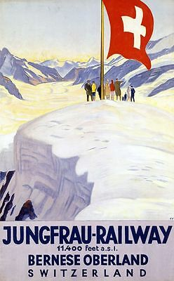 "Vintage Illustrated Travel Poster CANVAS PRINT Switzerland Railway Cross 16""X12"""