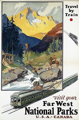 "Vintage Illustrated Travel Poster CANVAS PRINT National Parks Canada USA 16""X12"""