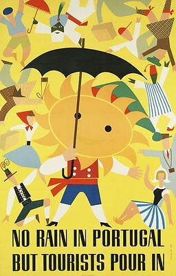 "Vintage Illustrated Travel Poster CANVAS PRINT No rain in portugal 16""X12"""