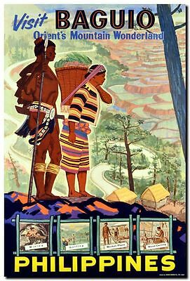 "Vintage Illustrated Travel Poster CANVAS PRINT Philippines Baguio 16""X12"""