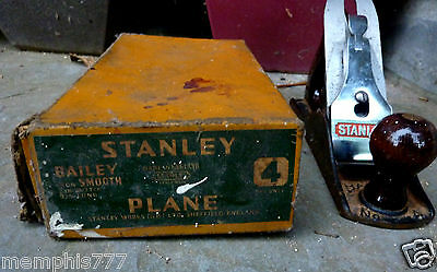 Vintage Stanley No.4 wood plane in Original Box