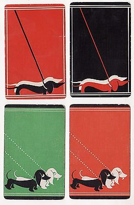 DECO DOGS DACHSHUNDS x 2 Pairs of Vintage Swap/Playing Cards