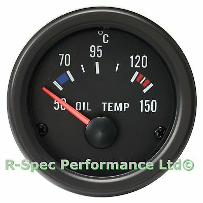 52mm Black Face / Clear Lens Oil Temp Temperature Gauge Kit - With Sensor