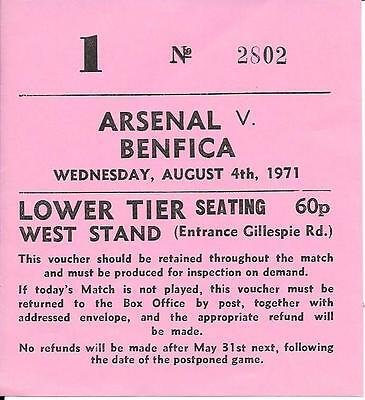 Ticket Arsenal v Benfica Friendly  1971/72