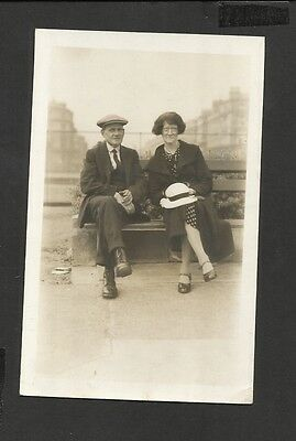 Vintage Real Photo Postcard Edwardian  Couple Sitting on Bench Unposted
