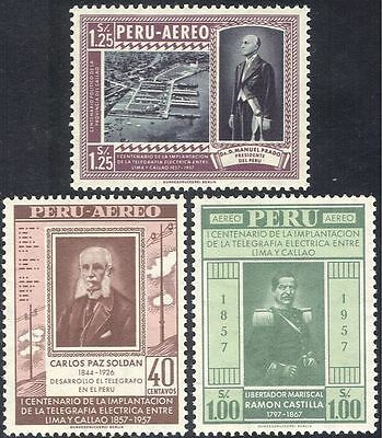 Peru 1957 Telegraph 100th/Communication/Telecomms/Harbour/Commerce 3v (n43970)