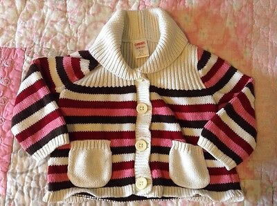 Gymboree 12-18 Months Striped Cardigan Sweater Button Up Red Pink Brown Fall
