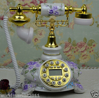 European Archaized Bluescreen Hands-Free Solid Wood+Metal Purple+White Telephone