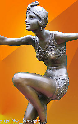 "Art Deco, Bronze "" Con Brio "", Bronze Statue Sculpture Dancer Figurine Figure"