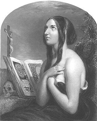 Pretty Young INNOCENT GIRL PRAYS to GOD w/ BIBLE ~ Old 1849 Art Print Engraving