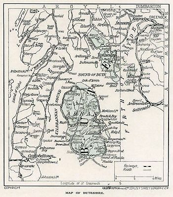 1923 map of Scotland: Bute, Arran, Rothesay, in mount