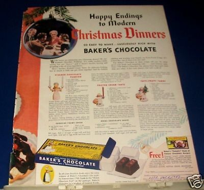 1937 Baker's Chocolate Christmas Dinner end recipe Ad