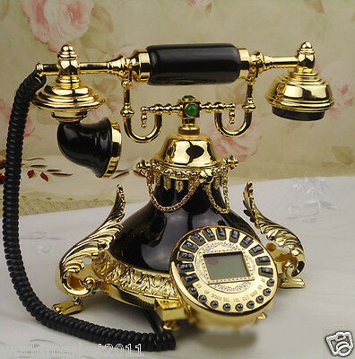 European Archaized Backlight Hands-Free Jade+Metal Black+Gold Dial Telephone