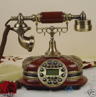 European Archaized Multi-Function Resin+Metal Bronze+Red Collectable Telephone