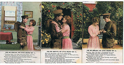 Set Of 3 Bamforth Song Series No 4897 Kiss Me Good-Bye My Little Soldier Boy
