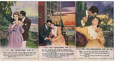 Set Of 3 Bamforth Song Series No 5001 Oh! You Cuddlesome Girl
