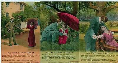 Set Of 3 Bamforth Song Series No 4759 All That I Ask Is Love