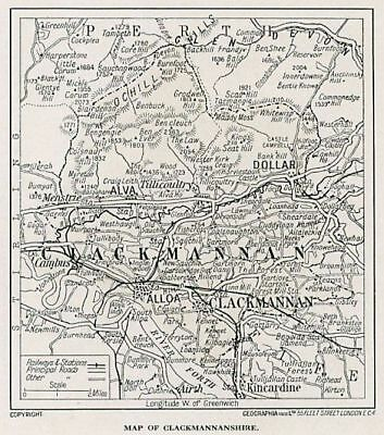 1923 map of Scotland: old Clackmannan ready-mounted antique print SUPERB