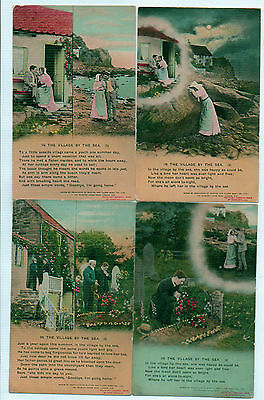 Set Of 4 Bamforth Song Series No 4557 - In The Village By The Sea