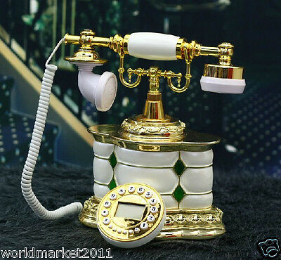 New European Style High Grade Resin White Antique Ancient Dial Telephone