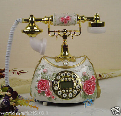 European Rural Archaized Backlight Hands-Free Resin+Metal Collectable Telephone
