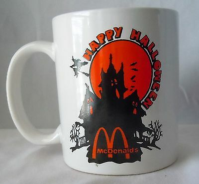 McDonalds Happy Halloween Coffee Mug Haunted House Witch Black Orange Vintage