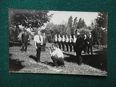Antique Photo Postcard of Russian Emigre Civil War Veterans Training with Rifles