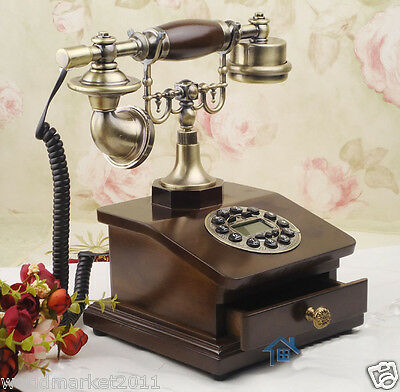 European Archaized Multi-Function Solid Wood+Metal With Drawer Dial Telephone