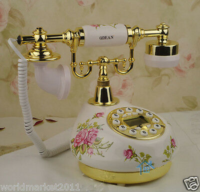 European Archaized Multi-Function Ceramic+Metal White Collectable Dial Telephone