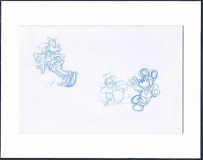 Mickey Mouse Donald Duck Goofy original production animation drawing Disney