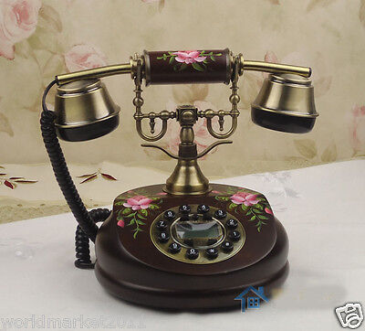 European Archaized Hands-Free Caller ID Solid Wood+Metal Collectable Telephone